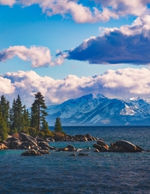 The clearing of a spring storm on the west side of Lake Tahoe Nevada