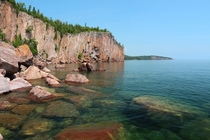 The cliffs of Palisade Head on the shore of Lake Superior in Minnesota