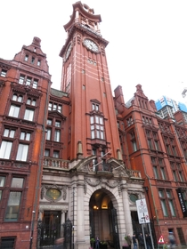 The clocktower of the Refuge Assurance Building Manchester England architetched the building as a whole by Alfred Waterhouse Paul Waterhouse amp Stanley Birkett inaugurated