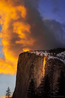 The clouds above Yosemite National Park competing against the elusive Firefall for the most brilliant display of light and color I was so lucky to witness this battle  - BersonPhotos