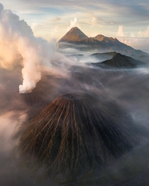 The clusters of volcanoes at the Tengger massif East Java Indonesia