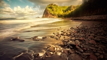 The coastline of the Pololu Valley on the north shore of the Big Island of Hawaii