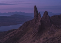The cold pre-dawn light on the Old Man of Storr Isle of Skye - Scotland