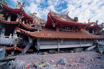 The collapsed Wuchang Temple in Taiwan The building is kept the same for  years as a reminder of the devastating earthquake of  in