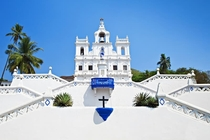 The colonial Baroque style Panjim Church in Goa INDIA was first built in s