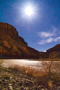 The Colorado River at night from just south of Arches National Park Utah