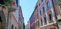 The colorful houses and narrow streets in the old part of Ljubljana Slovenia