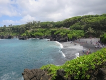 The colors here are so intense Black Sand Beach in Hana Maui   x