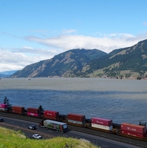 The Columbia River Rail lines on both banks Interstate  barge traffic on the river and  Hydroelectric dams throughout Oregon Washington and British Columbia