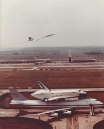 The Concorde The Shuttle and the NASA Shuttle Carrier Aircraft all in one rare shot