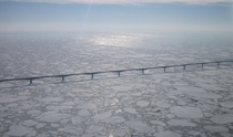 The Confederation Bridge surrounded by an ice pack near Borden-Carleton PEI