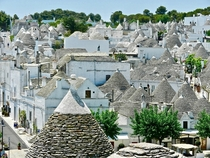 The conical roofs of the trulli of Alberobello Italy A traditional Apulian dry stone hut and house