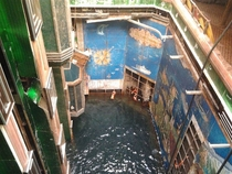 The Costa Concordia atrium elevators This image is from deck  the atrium extends down to deck  which is about  decks below the water line