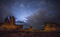 The Courthouse Towers in Arches National Park Utah  Photographed by Steve Rengers