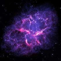 The Crab Nebula as seen by Herschel and Hubble