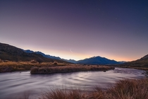 The crescent moon setting on Saturday night near Mt Sunday New Zealand where Edoras was filmed in LOTR