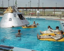 The crew of Apollo  relaxes during training