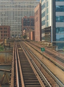 The CTA Purple amp Brown Line tracks on a steel elevated structure in the River North Neighborhood Chicago Illinois