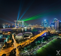 The daily laser show from the Marina Bay Sands Hotel Singapore