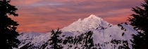 The days first light on Mt Baker North Cascades WA
