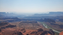 The Dead Horse Point overlook in Utah One of the best views I have ever had despite the smoke