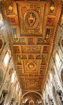 The decorated ceiling of the Papal Archbasilica of Saint John Lateran in Rome Italy