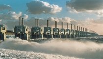 The Delta Works in the Netherlands consisting of  parts together form the largest storm surge barrier in the world and was declared one of the Seven Wonders of the Modern World by the American Society of Civil Engineers