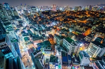 The dense Gangnam District at night Seoul South Korea