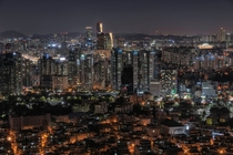 The densely packed cityscape of Seoul South Korea seen from Mt Namsan