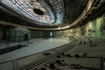 The derelict control room of an art deco power station in Hungary