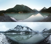 The difference one day can make at Akkem Lake in the Altai Mountain Range Siberia Elevation m