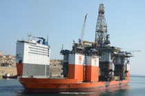 The Dockwise Vanguard a semi-submersible lift ship so big it can transport oil rigs