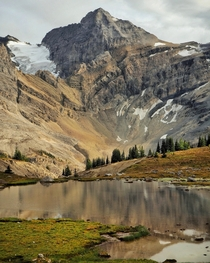 The Dragons Drink Tarn Reflecting Pika Peak In The Banff Backcountry Alberta Canada