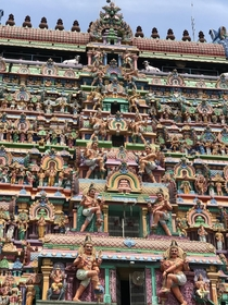 The Dravidian temple architecture th century The sculpture depicts the mythological stories from scriptures Location Tamil Nadu India