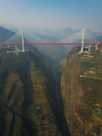 The Duge Bridge in China is the highest bridge in the world with the road deck sitting over  metres  feet above the Beipan River