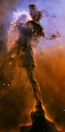 The dust sculptures of the Eagle Nebula are evaporating As powerful starlight whittles away these cool cosmic mountains the statuesque pillars that remain might be imagined as mythical beasts