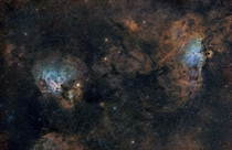 The Eagle and Swan Nebula  Photographed by Terry Hancock