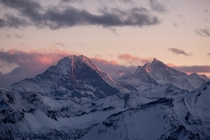 The Eiger Mnch and Jungfrau - three of the most famous mountains in Switzerland - during sunset