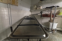 The embalming and prep room in an abandoned funeral home in Canada OC -