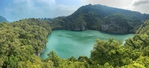 The Emerald Lagoon inside Ang Thong National Marine Park in Ko Samui Thailand This hike had some very steep stairs but breathtaking views