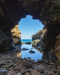 The enchanting view through the Grotto Great Ocean Road Victoria Australia