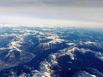 The endless Italian Dolomites taken from my airplane window