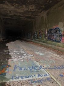 The entrance to one of the tunnels on the Abandoned PA Turnpike