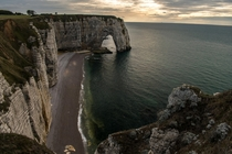 The evening light gives a perfect mood on the Etretat cliffs Normandy France