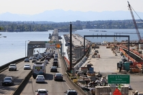 The Evergreen Point SR  Floating Bridge and its future replacement under construction on Lake Washington near Seattle