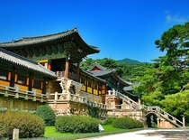 The facade of Bulguksa temple initially built in th century and restored Gyeongju South Korea