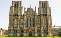 The facade of Wells Cathedral England