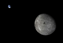 The far side of the moon and Earth taken by Chinas Change -TI satellite on October