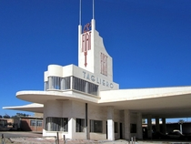 The Fiat Tagliero Building in Asmara capital of Eritrea a Futurist-style service station completed in  and designed by the Italian architect Giuseppe Pettazzi
