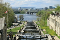 The final locks of the Rideau Canal leading to the Ottawa River in Ottawa Ontario